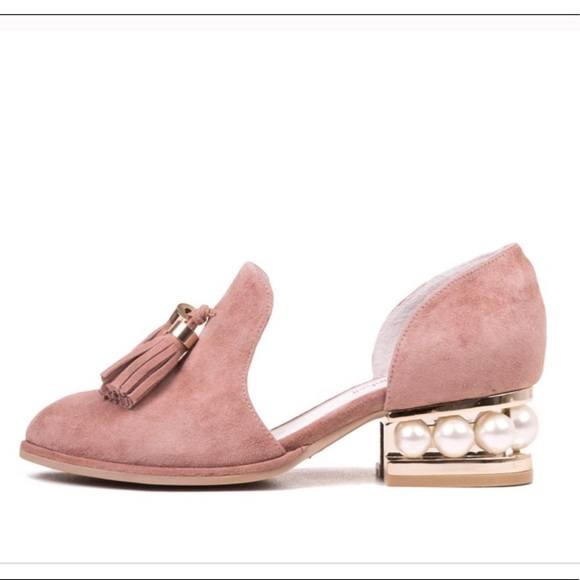 cecd6719c91 Jeffrey Campbell Shoes - JEFFREY CAMPBELL blush civil pearl tassel loafers